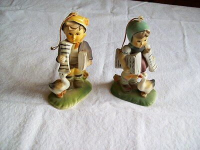 Two Vintage Hard Plastic Figurine Of A Girl With A Goose & A Boy With A Goose