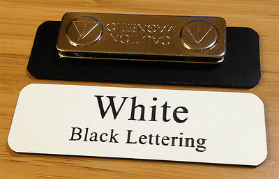 "Employee Name Badge 2.5""x0.75"" White / Black Letters,Corners rounded, + Magnet"