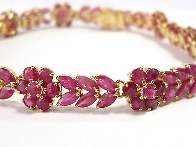 Fine Marquise and Round Natural Ruby Gem Bracelet 14kt Yellow Gold