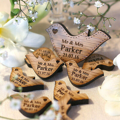50 Personalised Wooden Mr & Mrs Love Heart Doves Wedding Table Decoration Favour