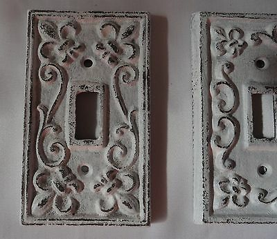 Cast iron single light switch plate shabby antique cottage white fleur de lis