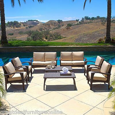 Outdoor Patio Furniture 8pc Brown Wicker Seating Set w/ Cushions