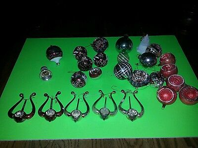 Vintage Christmas Ornaments Lot  Mica Shiny Brite Poland Germany Rare Harp Lyre
