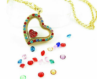 Living Memory Floating Charm Golden Heart multicolor-crystal Locket Necklace G02