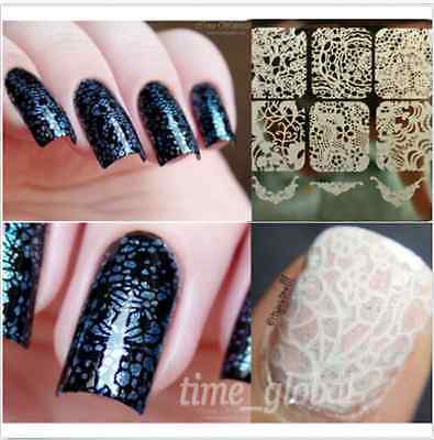 Nail Art Schablone Plates Stamping Nagel Tattoo Stamp Stempel Lace Design Y003