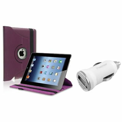 Purple 360 Swivel Flip Leather Case+1A Car Charger Adapter For iPad 2/3