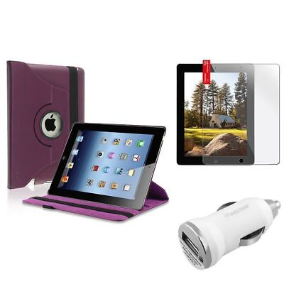 Purple 360 Swivel Leather Case+Protector+1A Car Charger Adapter For iPad 4