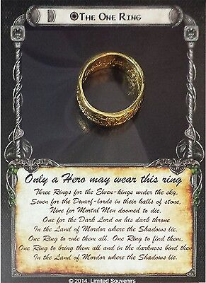 LOTR Hobbit The One Ring on Card 18 Kt Gold GP Replica Engraved Lord Rings BNOC