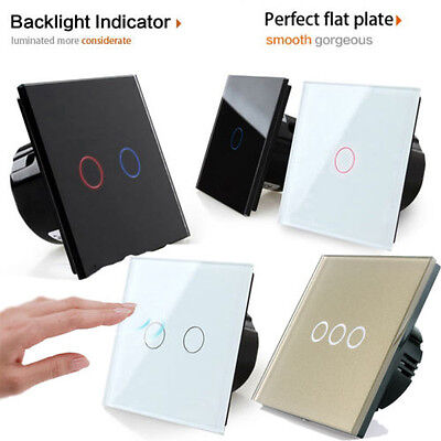 Smart Touch Gang 1 Way LED Crystal Panel Light Touch Screen Wall Switch EU Plug