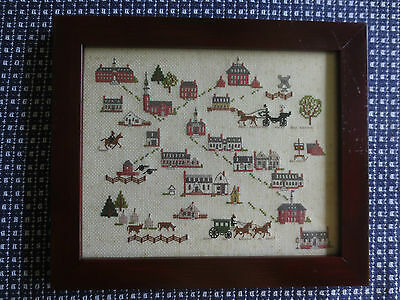 "UNIQUE Framed VILLAGE COMMUNITY Counted Cross Stitch - 10 3/4"" x 12 5/8"""