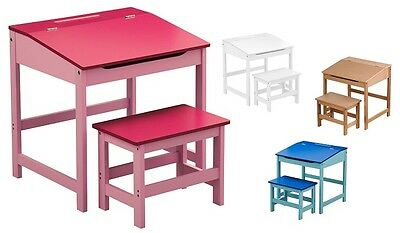 Quality Kids Desk & Chair Set Children Table Blue Pink White & Natural Wood New