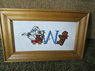 "Framed ""W"" Wagon & Animal Friends CROSS STITCH on 18-Count Aida--10 5/8""x 6 3/4"""