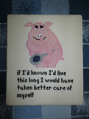 "Completed IF I'D KNOWN I'D LIVE THIS LONG...Whimsical Cross Stitch - 7 1/2"" x 9"""