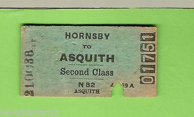 #d87.  1938 Nsw Railwayy Ticket Hornsby To Asquith  #01751