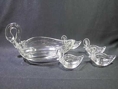 Heisey Master Nut Set with 4 Small Swans