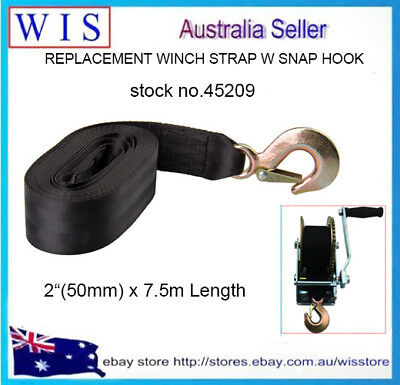 """50mm(2"""") x7.5m Boat Trailer Hand Winch Replacement Strap Forged Snap Hook-45209"""