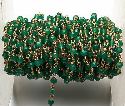 Natural Emerald Color Quartz 3.5MM Facet Gold Plated Rosary Style Link Chain 12""
