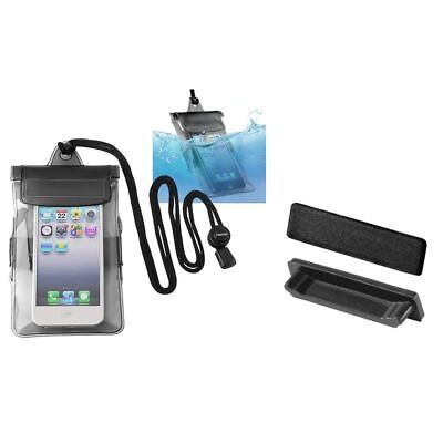 Black Waterproof Bag Case+2pcs Black Dock Plug Protector For iPod Touch 4 4G 4th