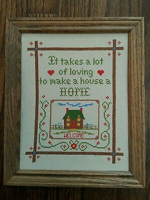 """Vintage """"Welcome Home"""" Cross Stitch folk art hand made country decor"""