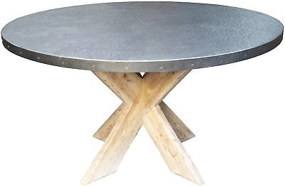 """54"""" Round Dining Table Old Reclaimed Wood Vintage Base Hammered Zinc Top Rustic"""