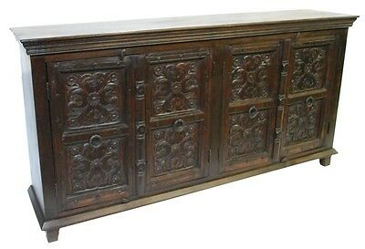 """79"""" Vintage Buffet 4 door cabinet sideboard with carving WAREHOUSE SPECIAL"""