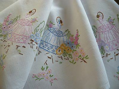 Stunning Vintage Embroidered Crinoline Lady floral flowers Linen Tablecloth