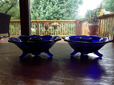 cobalt blue glass Fenton 1930's lotus petal flower taper candle holders footed