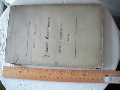 """Antique Booklet """"Annual Report Insurance Commissioner State of Rhode Island 1869"""