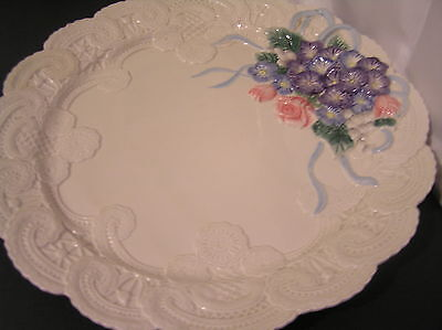 "13"" ROUND PLATTER  FITZ & FLOYD VICTORIAN LACE BLUE PINK FLOWER LARGE WHITE NEW"
