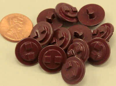 """12 Maroon Plastic Shank Buttons 5/8"""" 15.5mm # 7066"""