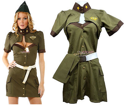 Women Army Soldier Adult Uniform Costume Halloween Fashion Outfit Dress Cosplay