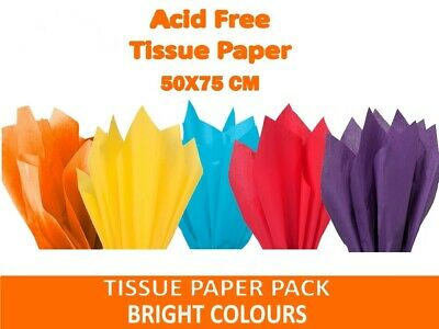 "BRIGHT MIX OF COLOURS Tissue Paper Sheets 50cm x 75cm 18gsm  20"" x 30"" Acid Free"