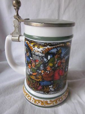 Vintage Bmf Original Bierseidel Stein Milk Glass Lidded Pub Scene Playing Cards