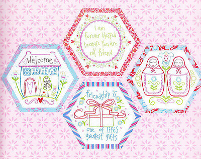 Best Friends Forever 7 - stitchery BOM hexagons - PATTERN + preprinted fabric
