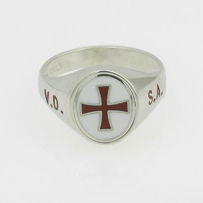 Silver 925 Masonic Ring with Reversable Head - Knights Templar