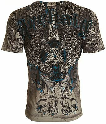 Archaic AFFLICTION Mens T-Shirt DIFFUSION Cross Wings GREY Tattoo Biker $40
