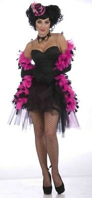 Pink Black Feather Boa Feathered Drage Flapper Burlesque Costume Accessory 20's