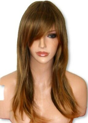 Brown Bronze Ombre Women Long Curly real Natural Ladies Costume Adult Wig L3