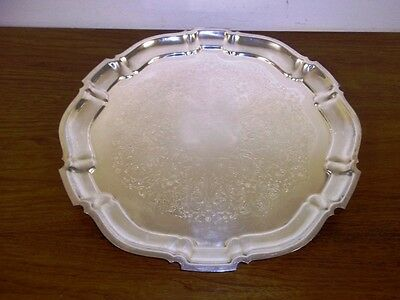 """Bristol Silverplate By Poole #62 Scalloped Silverplate Footed Serving Tray 15.5"""""""