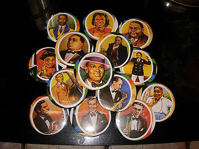 14 REFRRIGERATOR MAGNETS/ from R CRUMB  Early Jazz Greats Trading Cards