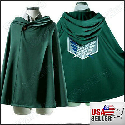 NEW! USA Cosplay Attack on Titan Anime Shingeki no Kyojin Cloak Cape clothes
