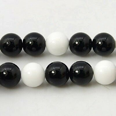 25 x Natural Black and White Jade Gemstone Beads - 6mm - LB1052