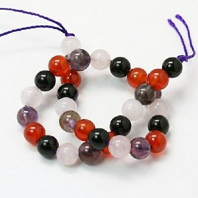 25 x Natural Obsidian, Amethyst, Rose Quartz and Red Agate Beads - 6mm - LB1053