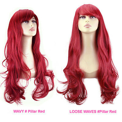 "20"" & 22"" Ladies FULL WIG Long Wavy Curly Loose Waves Flick Pillar Red 3 Styles"