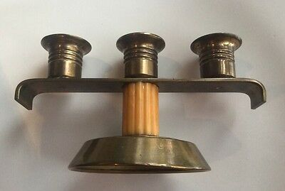 Art Deco Triple Bakelite And Brass Candleholder