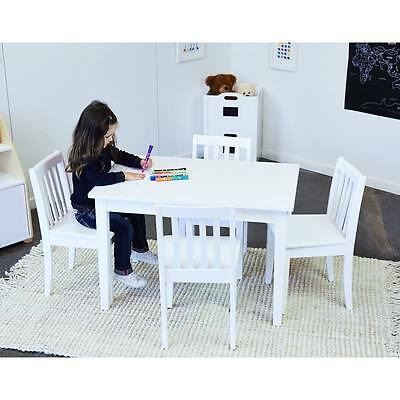 Hip Kids Hunter Wooden Table and 4 White Chairs Children Toddler Furniture Set