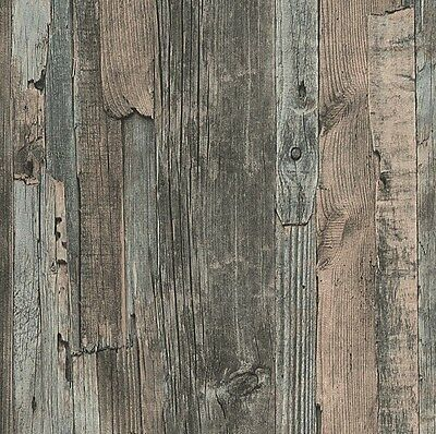 French Provincial Rustic Timber Wood Effect Wallpaper in Grey/Brown - 10M
