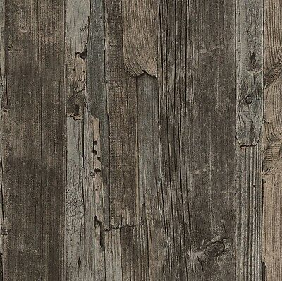French Provincial Rustic Timber Wood Effect Wallpaper in Dark Grey/Brown - 10M