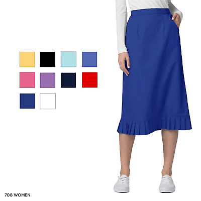 Adar Women Medical Nurse Uniform Back Zipper 2 Pocket Pleat Flounce Scrub Skirt