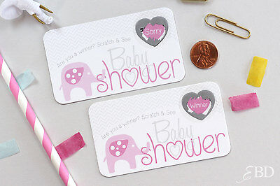 Pink Elephant Baby Shower Party Favor Scratch Off Game Card